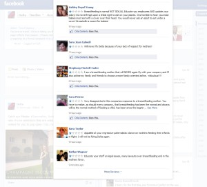 upset facebook people about delta mistake tweet about mothers breastfeeding
