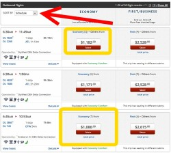 delta sorts price by schedule by default