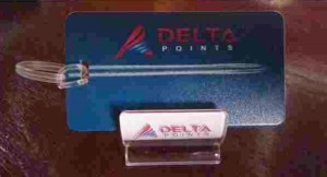 delta points phone holder and luggage tag