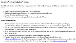 delta skybonus silver medallion award rules 12 months