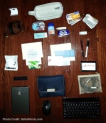 what is in my travel bag - delta points travel blog