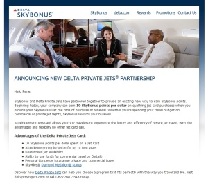 skybonus earning from delta private jet card