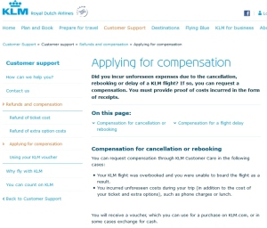 klm compensation page