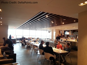 Centurion Lounge LGA LaGuardia Airport american express delta points blog dining area