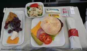 delta 1st class hamburger meal sea to msp delta points blog