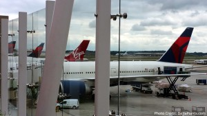delta and virgin tails at ATL airport from Skyclub Delta points blog