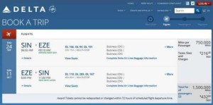 750000 skymiles for one award ticket on delta-com