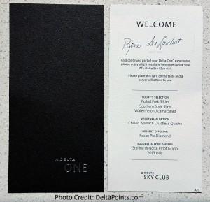 DeltaONE meal in Delta Skyclub pre flight ATL Delta Points blog 1