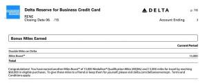 mqm and skymiles bonus met for 2015 delta points