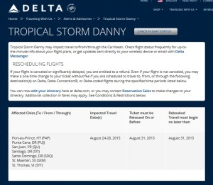 free delta changes tropical storm danny