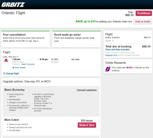 final page on orbitz with choice to buyup to Main Cabin delta and more info on basic