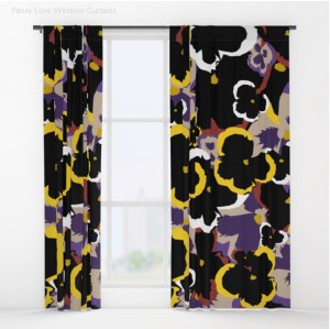 Pansy Love Blackout Curtains designed by Visual Artist Keara Douglas of Delux Designs (DE), LLC