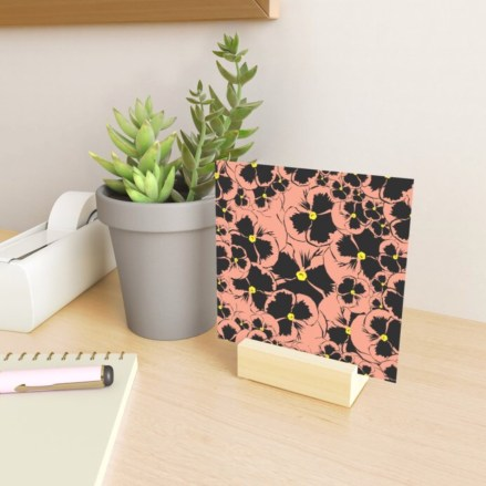 Peach Pansy Love Mini Art Print designed by Visual Artist Keara Douglas of Delux Designs (DE), LLC