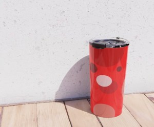 Red Dots Metal Travel Mug designed by Visual Artist Keara Douglas of Delux Designs (DE), LLC in collaboration with Society6