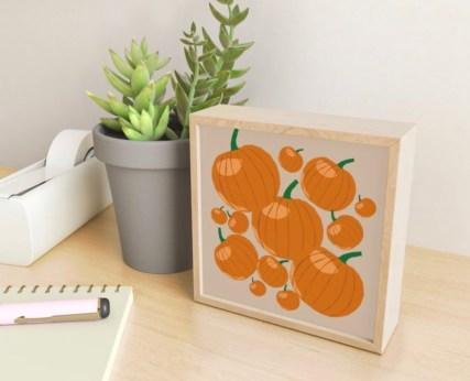 Pumpkin Love Mini Framed Art Print designed by Visual Artist Keara Douglas of Delux Designs (DE), LLC