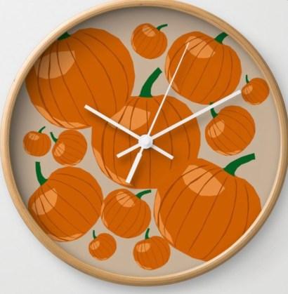Pumpkin Love Wall Clock designed by Visual Artist Keara Douglas of Delux Designs (DE), LLC