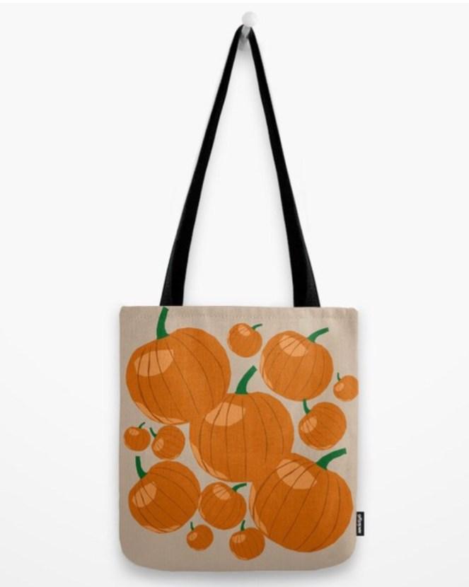 Pumpkin Love Tote Bag designed by Visual Artist Keara Douglas of Delux Designs (DE), LLC