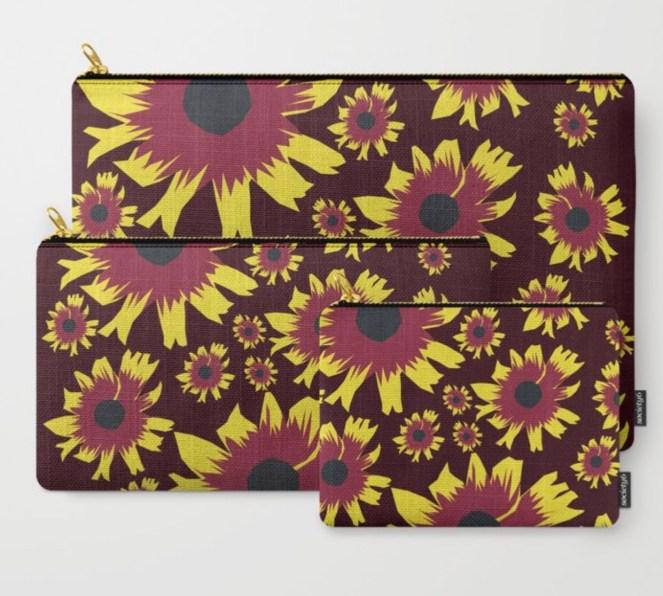 Black-Eyed Susan Love Carry All Pouches designed by Visual Artist Keara Douglas of Delux Designs (DE), LLC