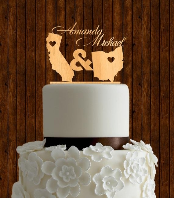 wedding cake toppers  raquo  15 Meaningful Wedding Cake Toppers For Your Wedding Two States Wedding Cake Topper
