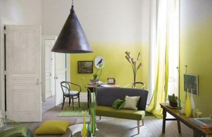 lime yellow ombre wall paint