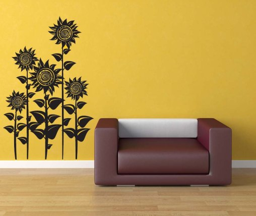 Yellow wall paint, black wall sticker wallpaper
