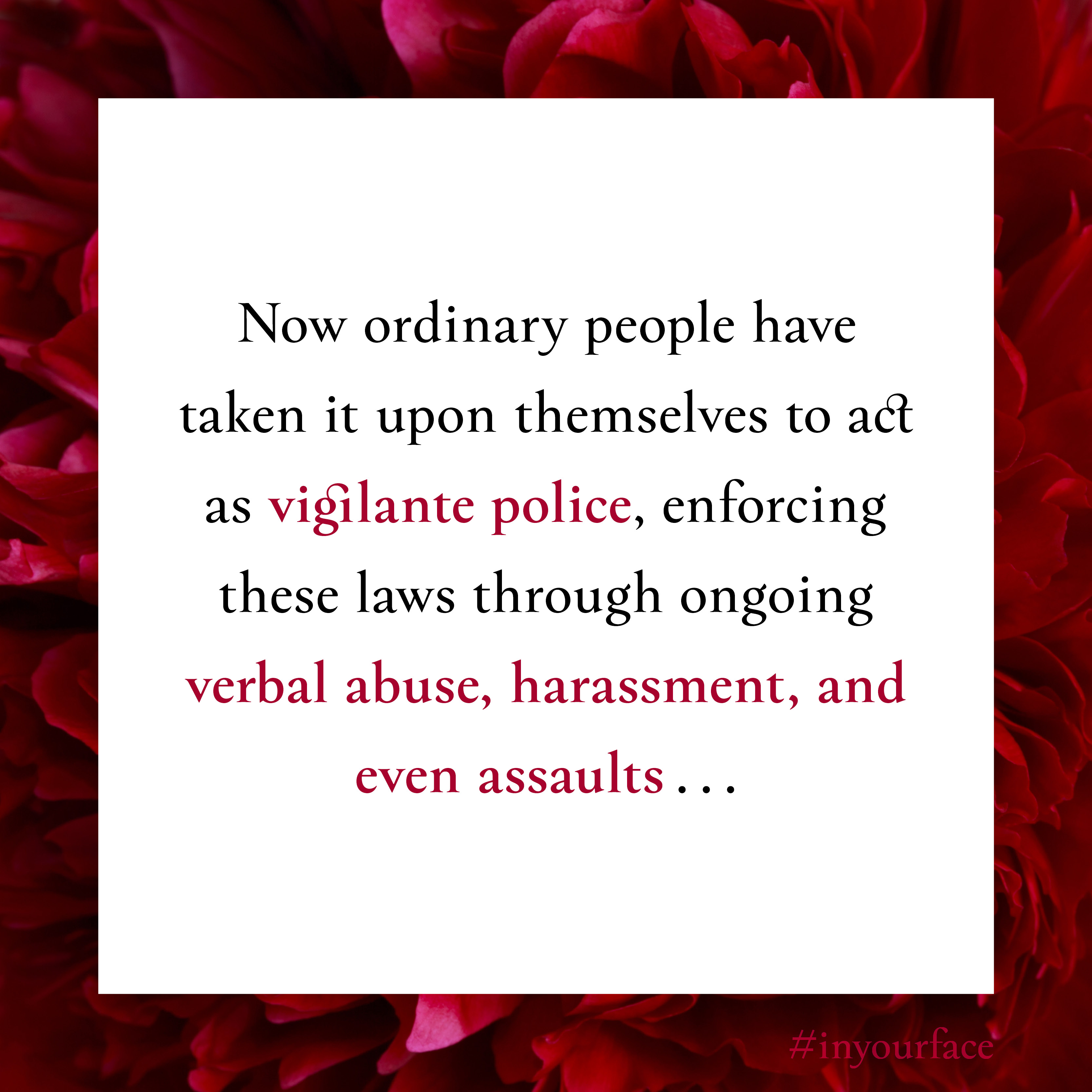 """Excerpt from In Your Face by Natasha Bakht. It reads: """"Now ordinary people have taken it upon themselves to act as vigilante police, enforcing these laws through ongoing verbal abuse, harassment, and even assaults..."""""""