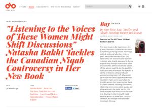 Screenshot of an interview with Natasha Bakht on the Open Book website.