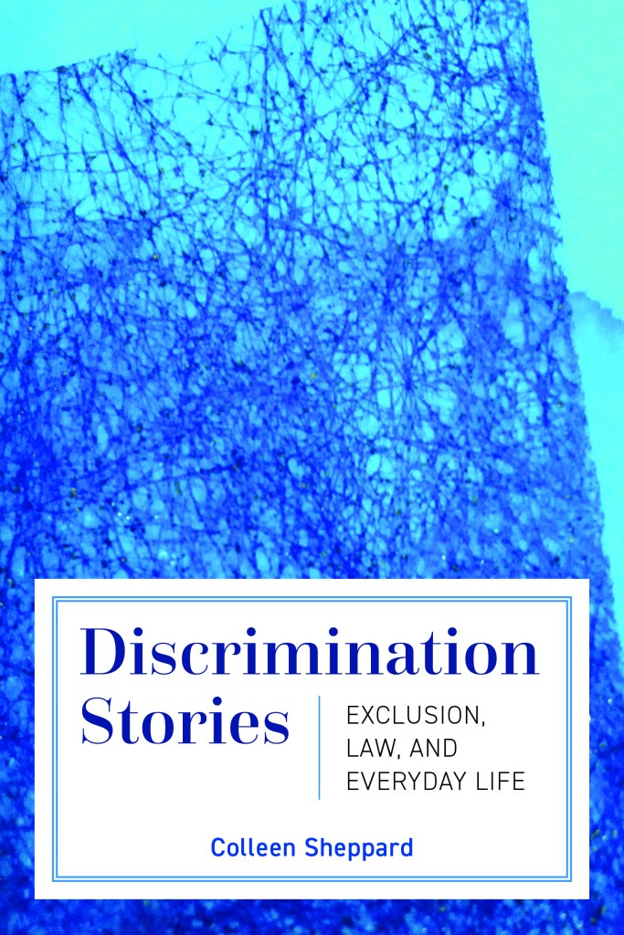 Book cover for Discrimination Stories by Colleen Sheppard, showing an abstract dark blue screen on a light blue background.