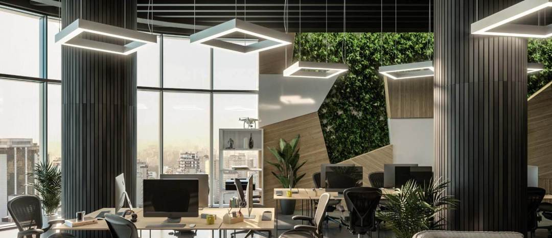 delviro square shaped LED lighting in a modern office