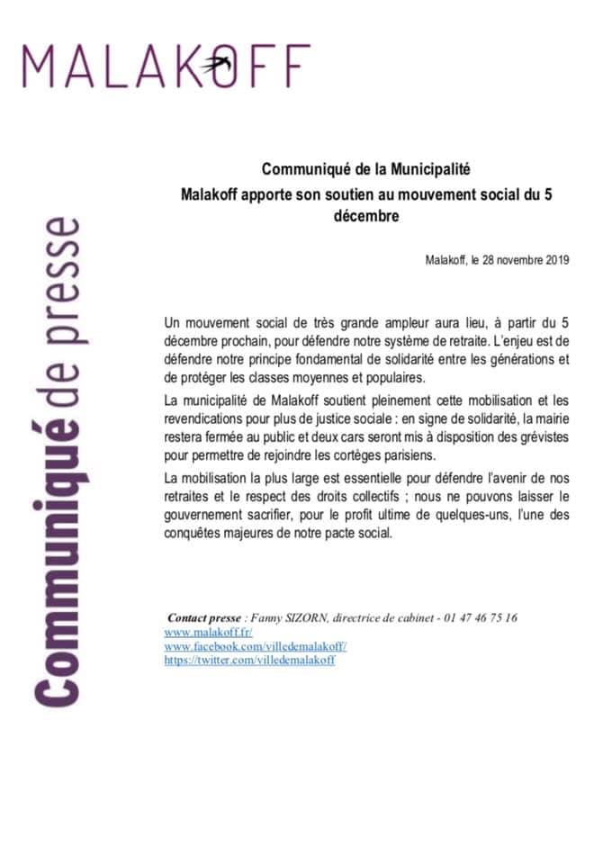 Communiqué de presse de la municipalité, soutenant la grève du 5 décembre 2019.