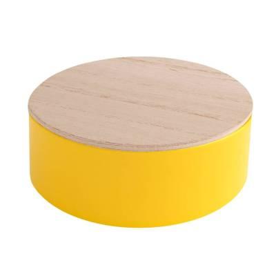 rond blikje hout geel