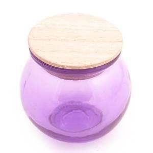Bolletje gkleurd glas met houten dop