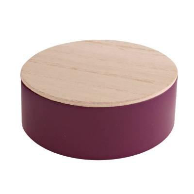 rond blikje hout violet