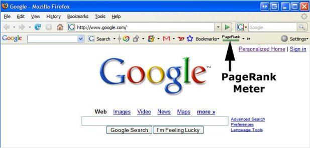 PageRank nella Google toolbar