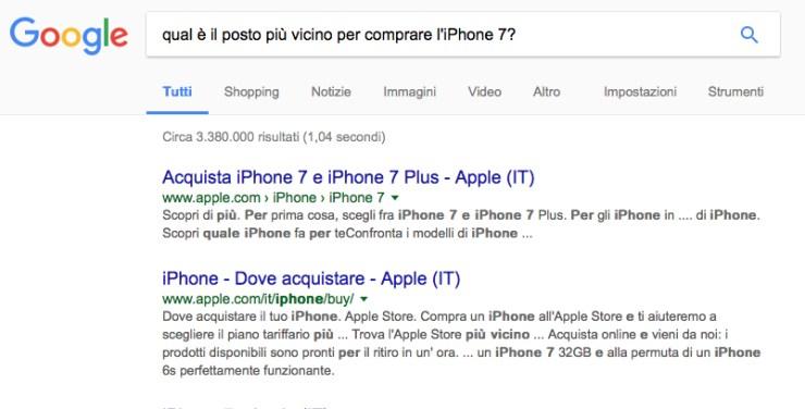 Iphone e posizionamento su Google
