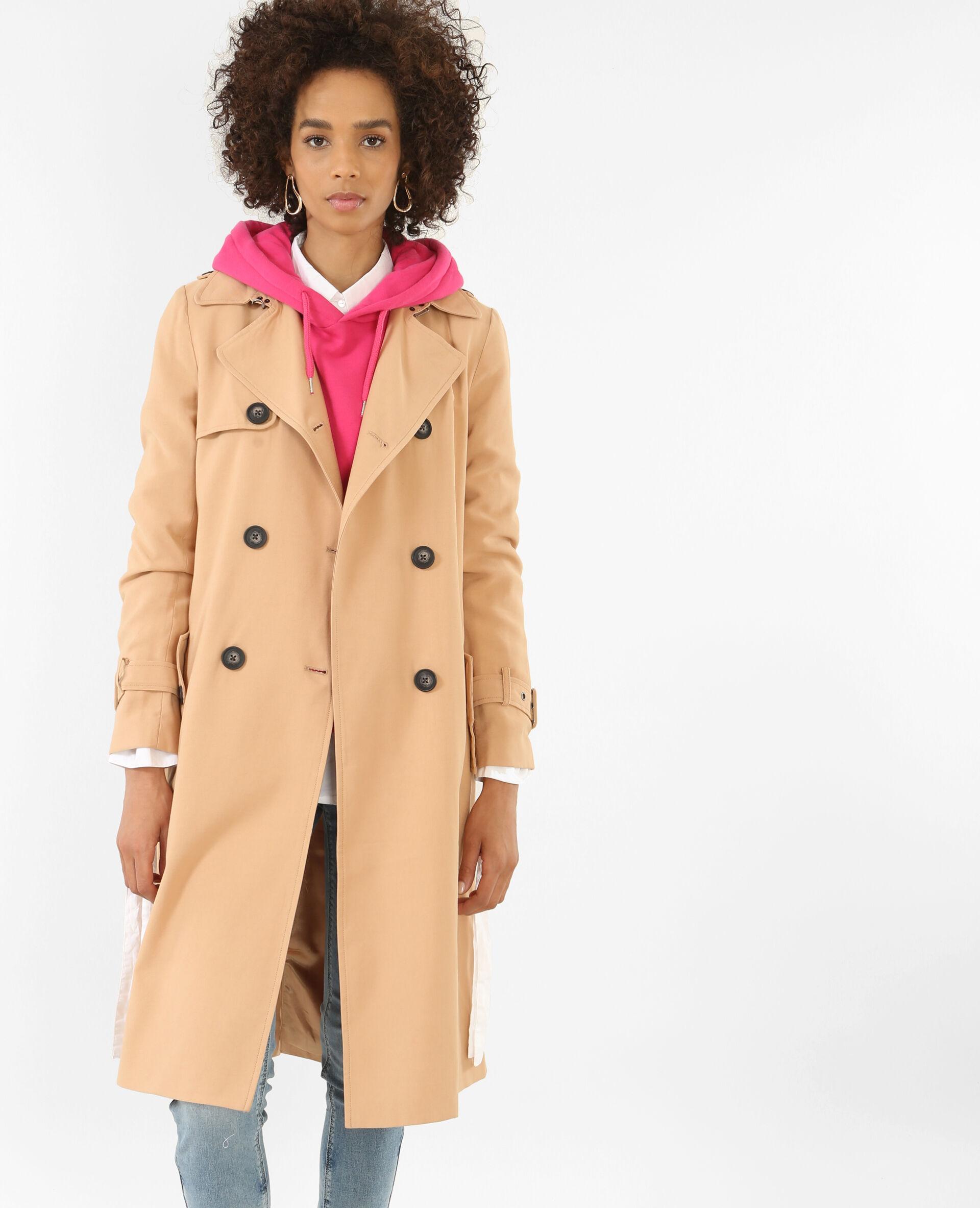 Trench-coat long beige sable