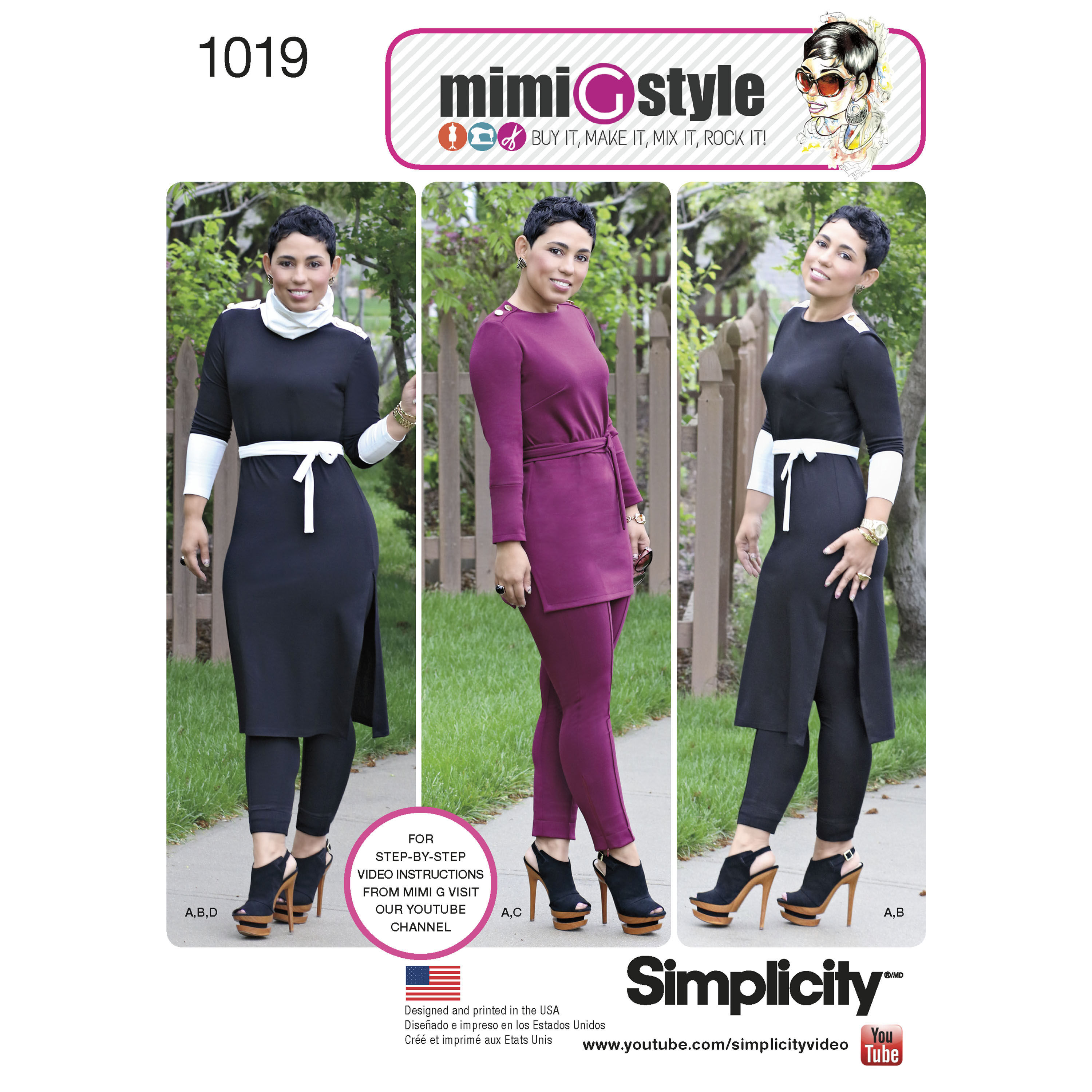 Simplicity Pattern 1019 Misses' Knit Tunic and Pintuck Pants from Mimi G Style