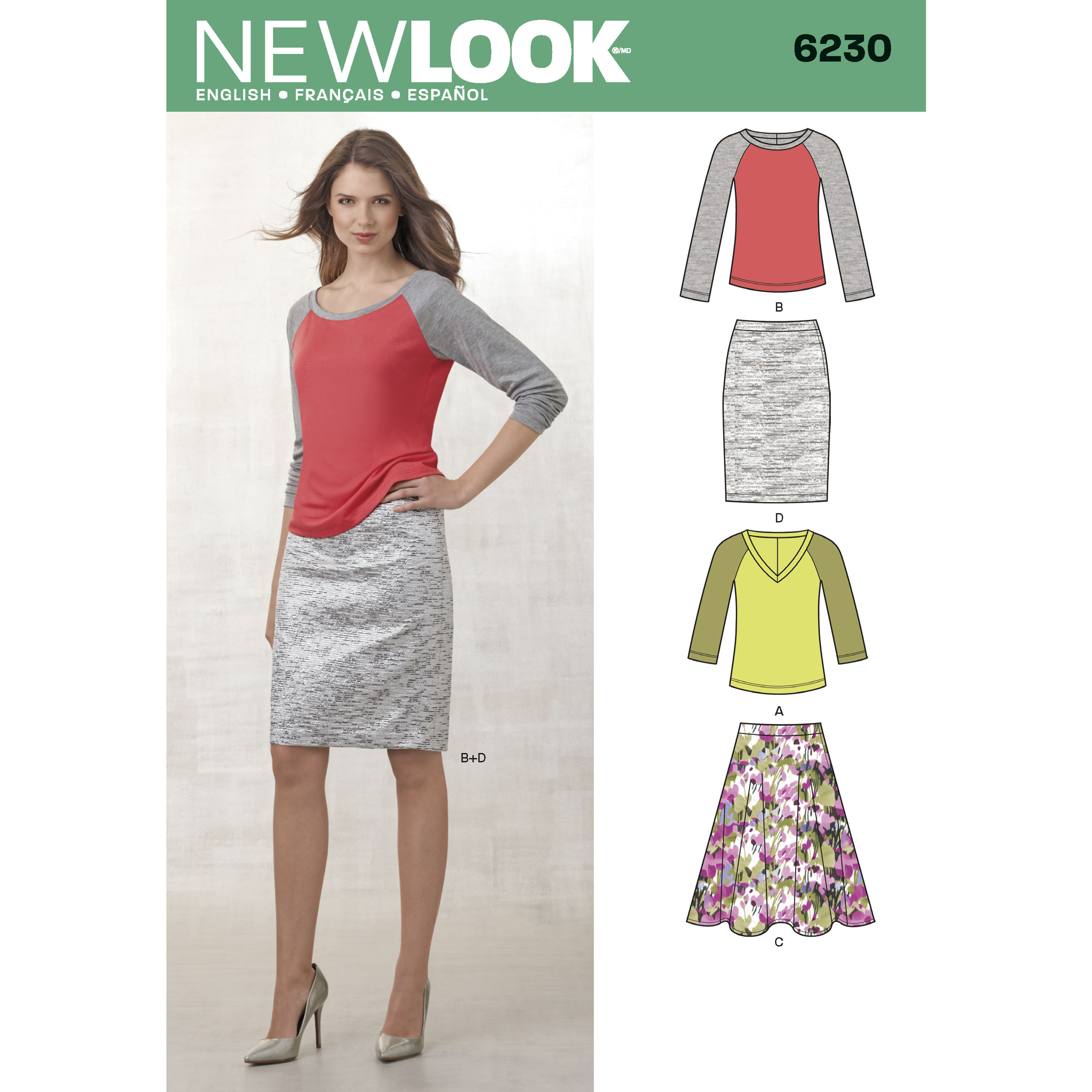New Look Pattern 6230 Misses' Knit Top and Full or Pencil Skirt
