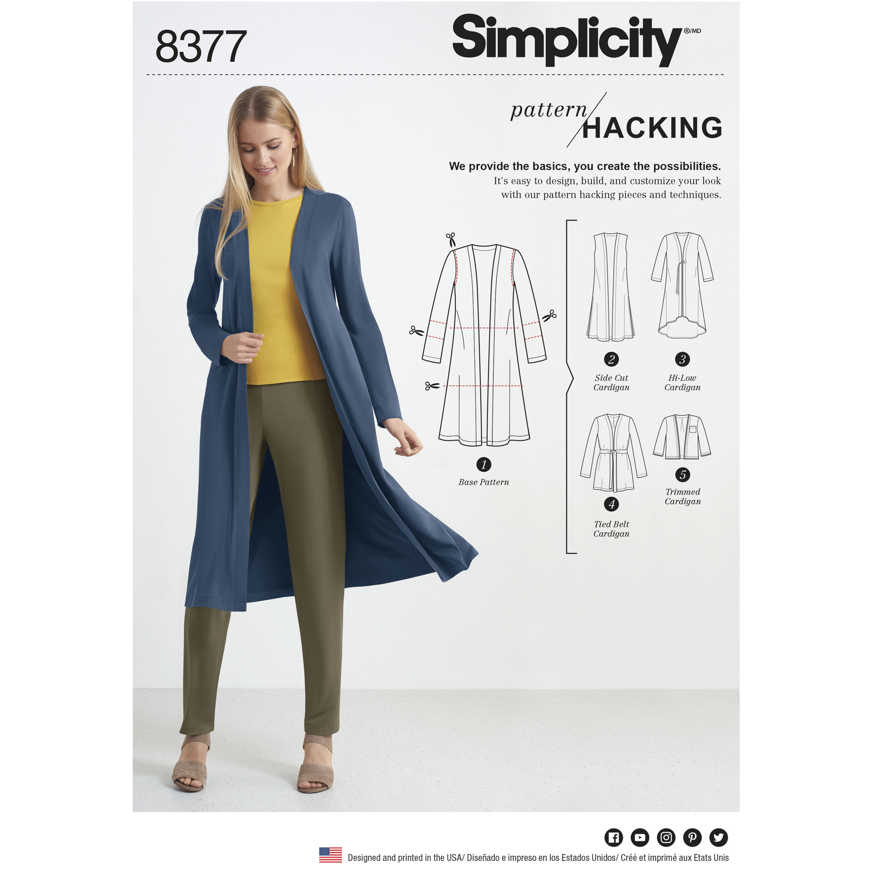 Simplicity Pattern 8377 Misses' Knit Cardigan with Variations and Multiple Pieces for Design Hacking