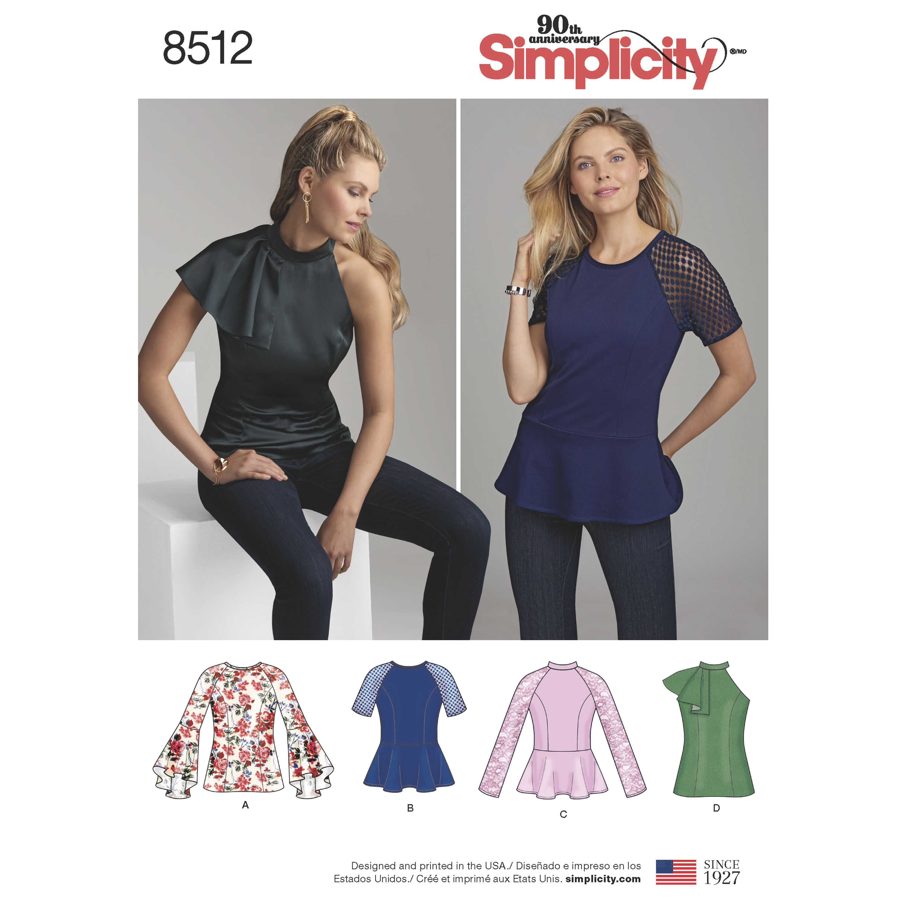 Simplicity Pattern 8512 Misses'/Miss Petite Tops with Sleeve Variations