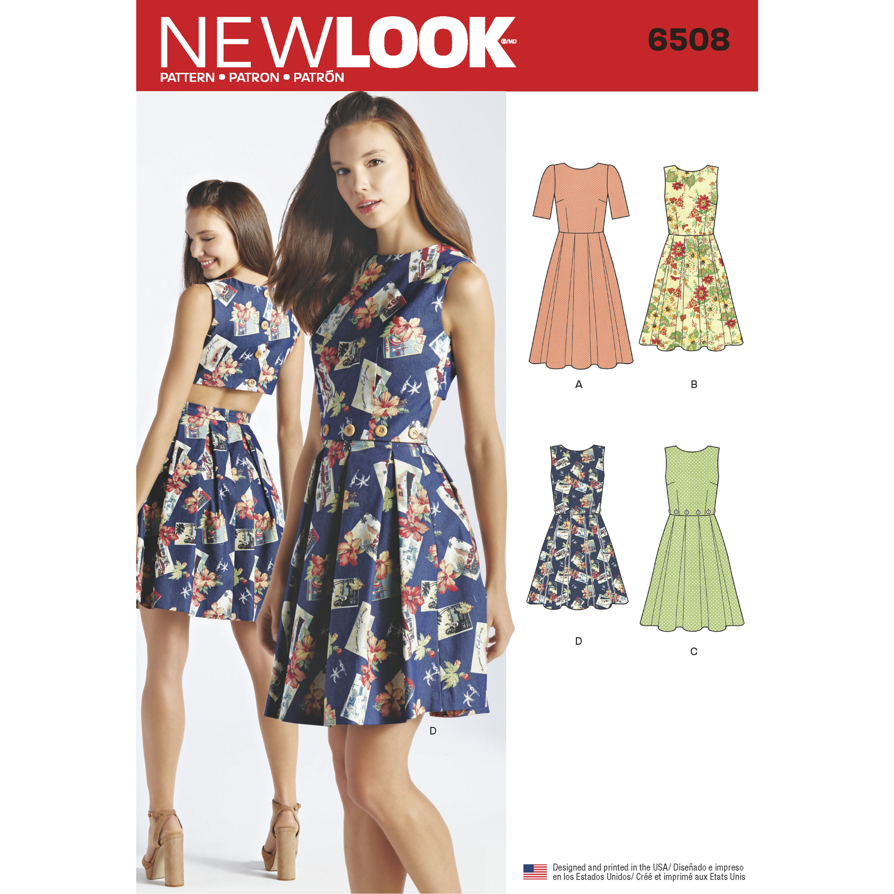 New Look Pattern 6508 Misses' Dress with Open or Closed Back Variations