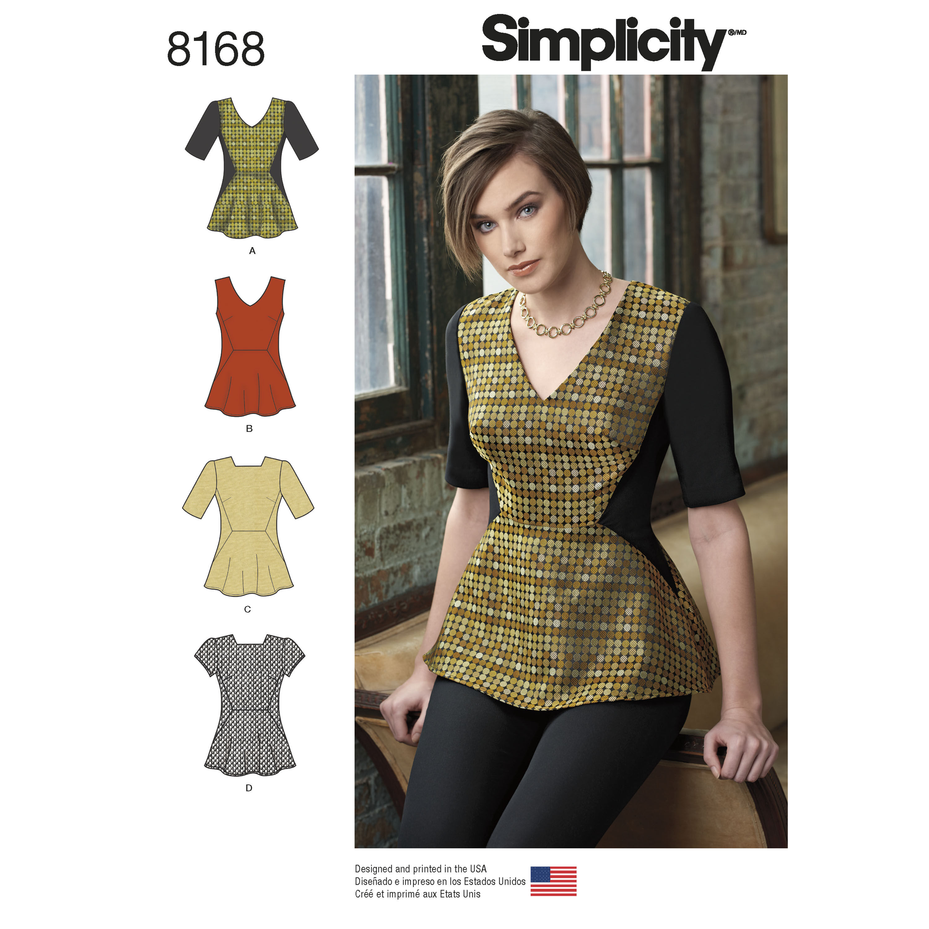 Pattern 8168 Misses' Peplum Top with Neckline and Sleeve Variations
