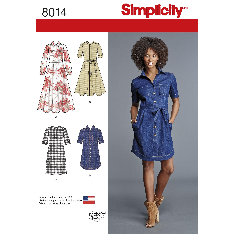 Simplicity Pattern 8014 Misses' Shirt Dress
