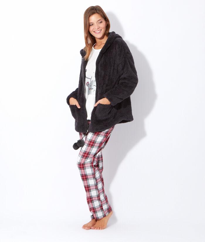 Pyjama 3 pièces, pantalon carreaux, veste polaire toucher peluche