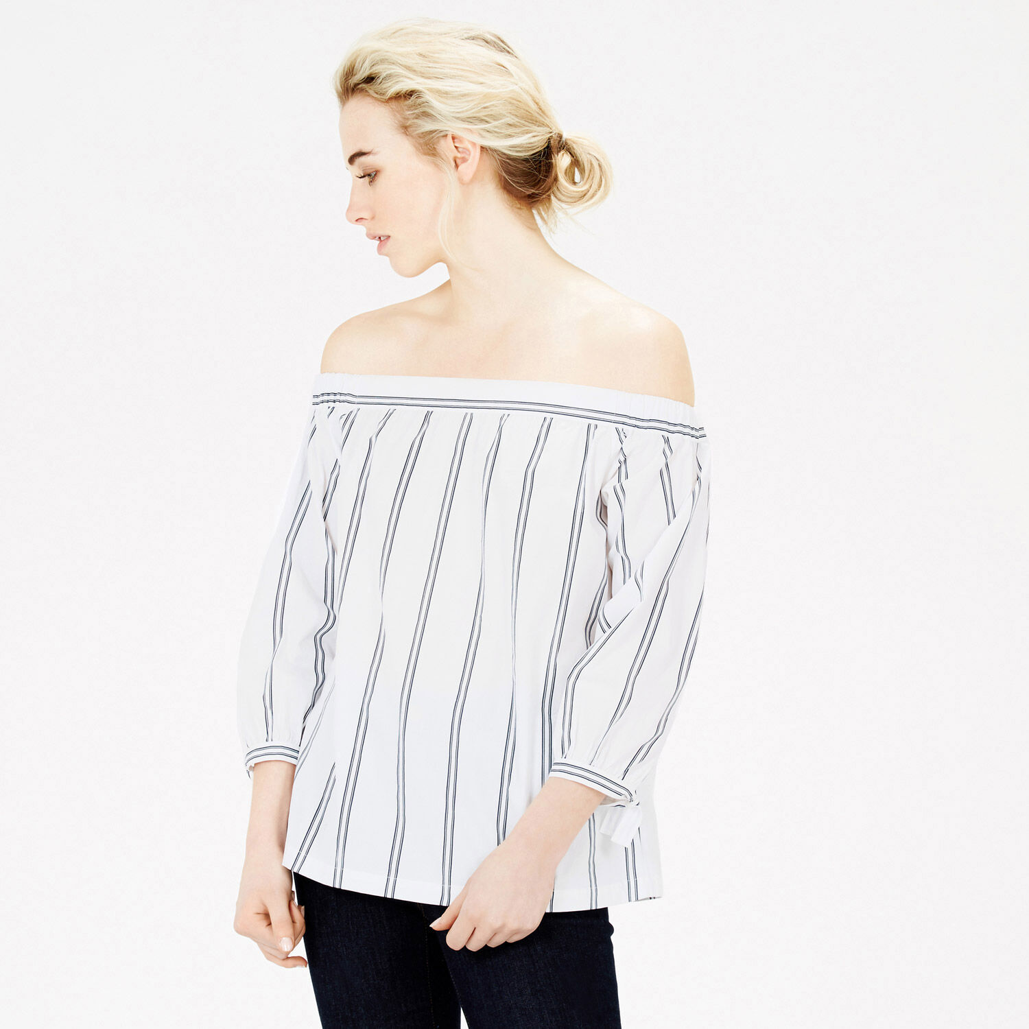 Warehouse, Cotton Off The Shoulder Top Neutral Stripe 1