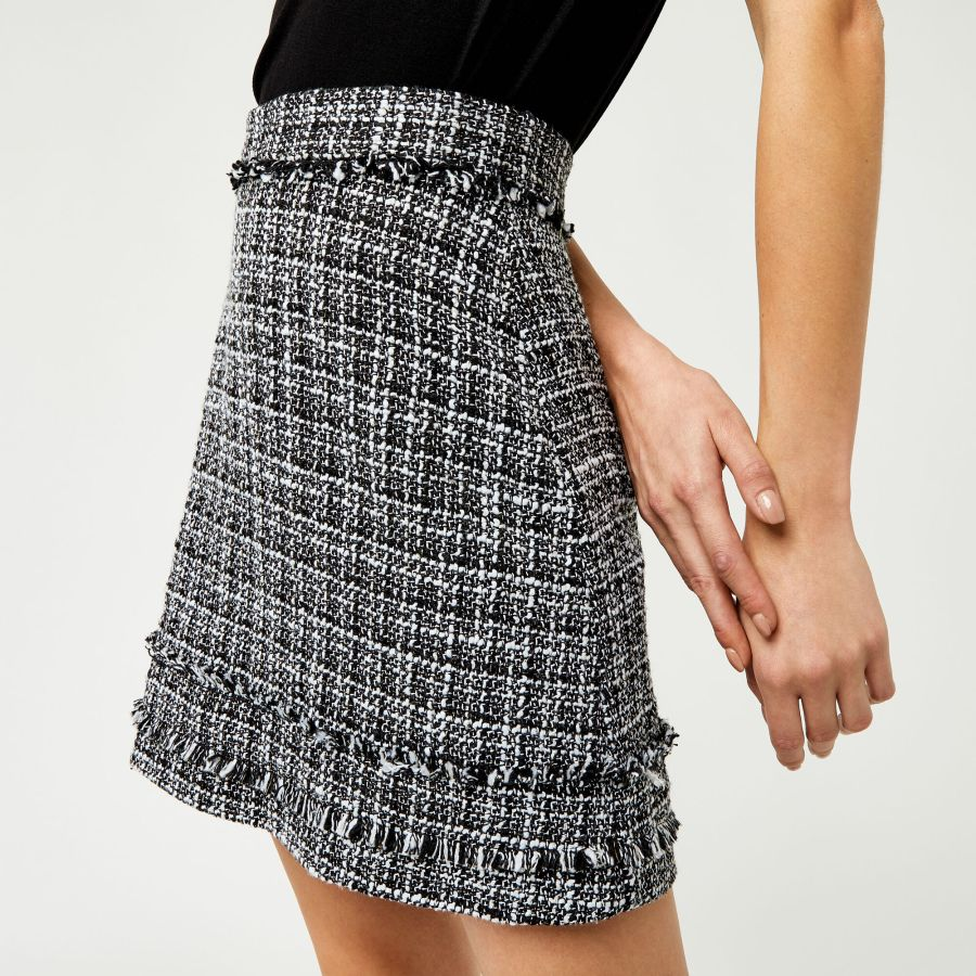 Warehouse, MONO TWEED PELMET SKIRT Black Pattern 1
