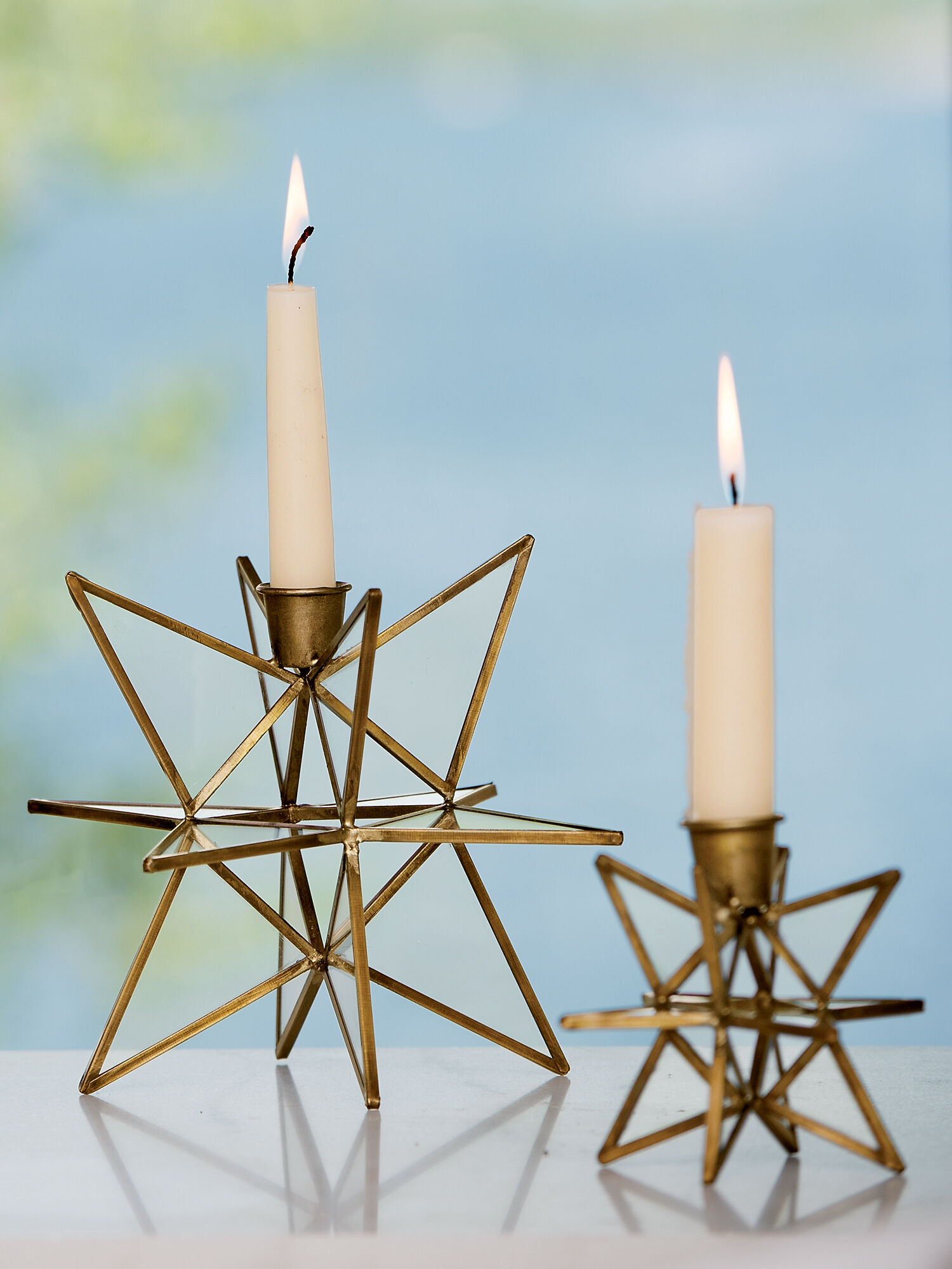 Bronze Moravian Star Candle Holders Set Of 2 In Choice Of