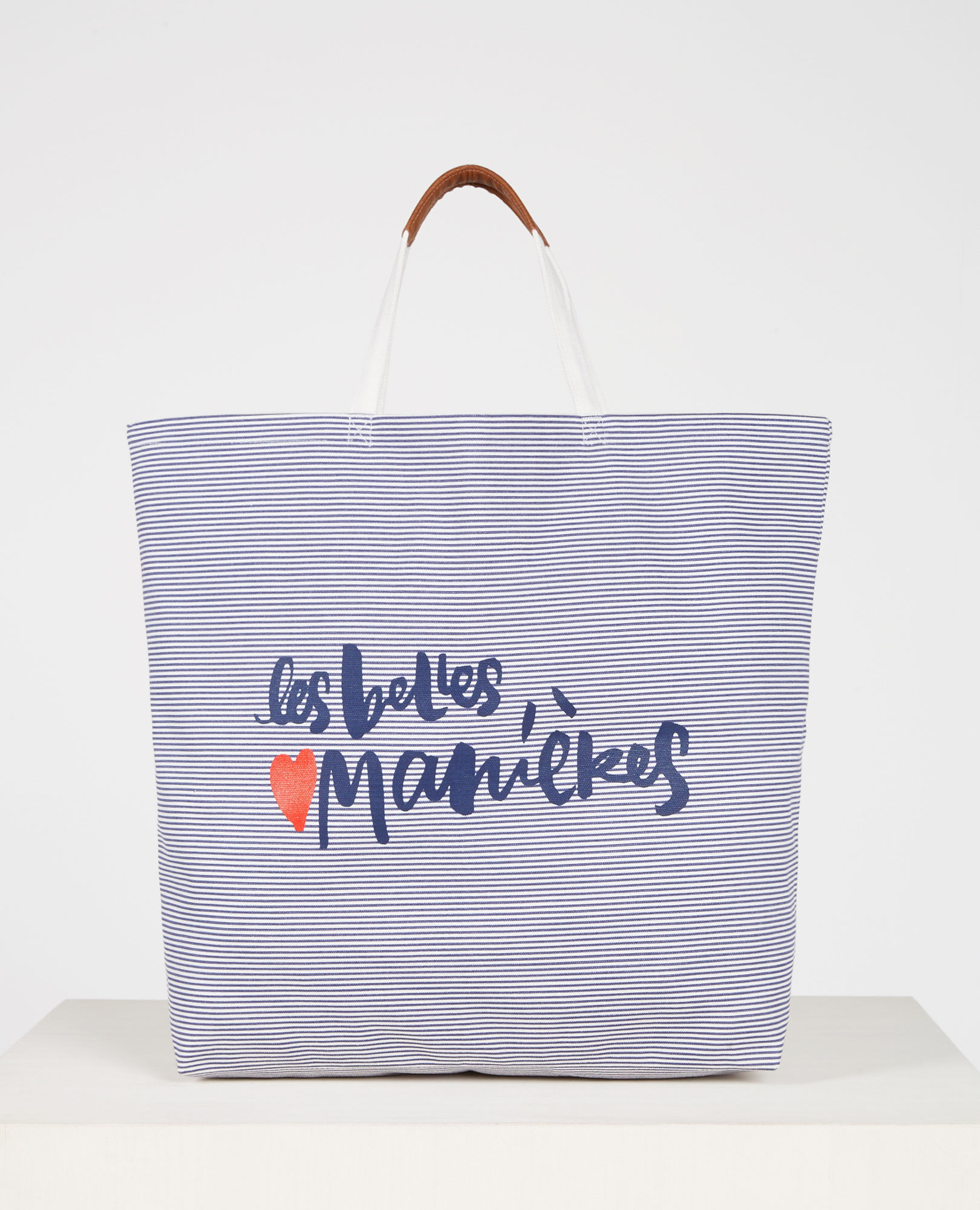 Grand tote bag imprimé marinière Ink blue/blanc Caroline