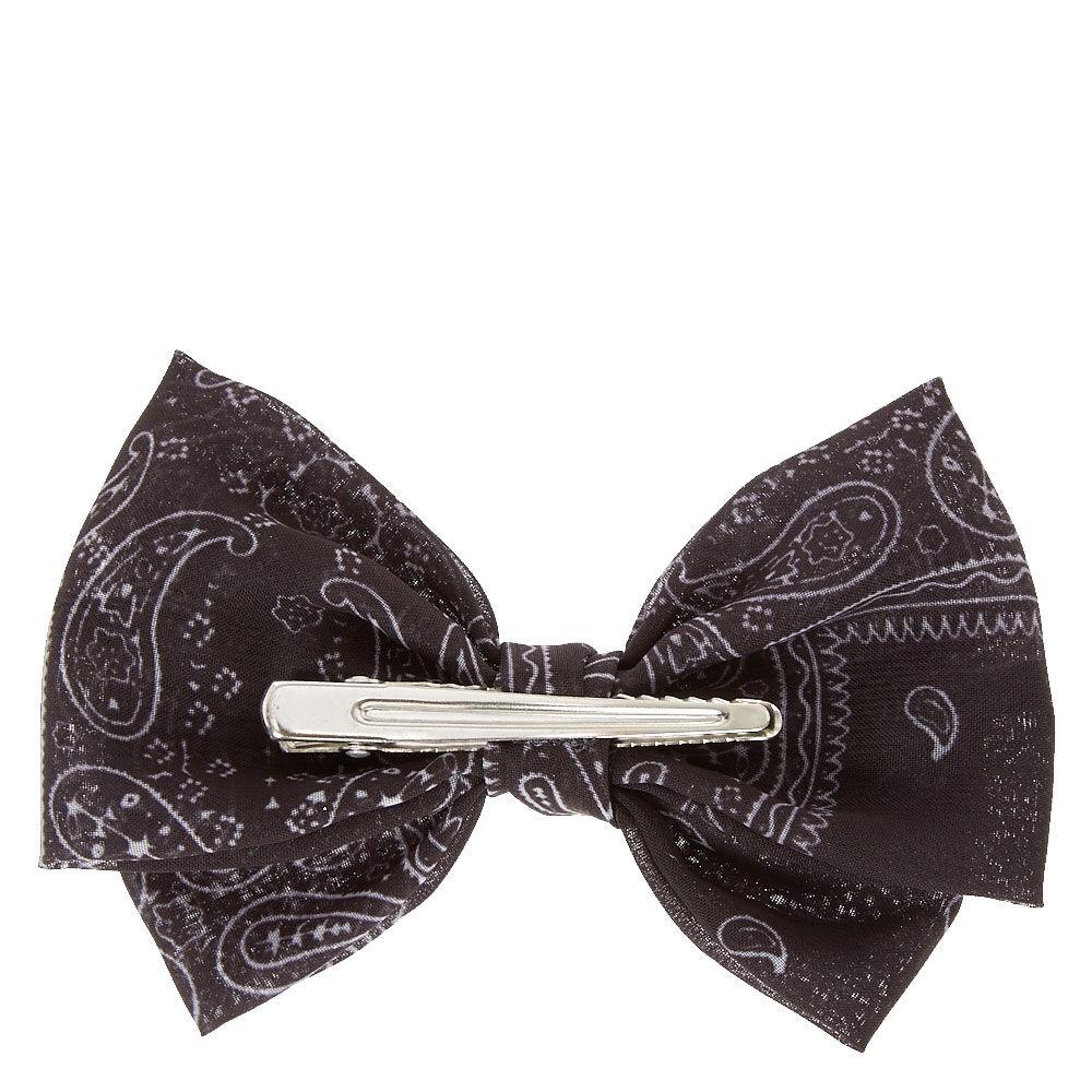 Black Paisley Bandana Bow Hair Clip Claires US