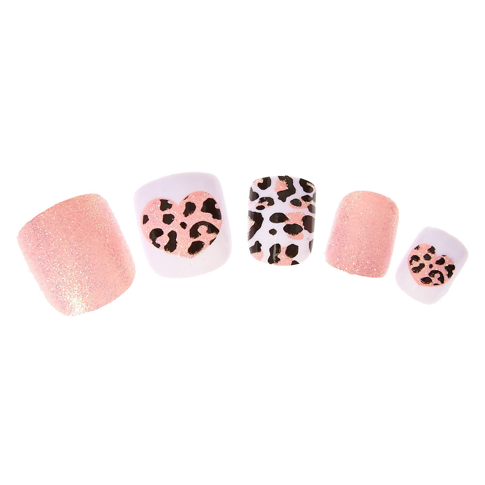 Kids Glittery Pink Leopard Print Press On False Nails Claire S Us